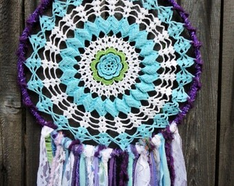 Dreamcatcher Large Purple Turquoise mixed material lace vintage doily bohemian boho chic hippie surf feathers wall decor home bedroom teen