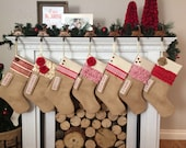 Personalized Rustic Christmas Stocking: Red and White, Burlap stocking with Red and White stocking ruffle stocking stripe stocking