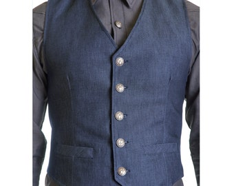 Blue denim vest lined with NYC buttons male streetwear - Limited Edition, handmade in Italy