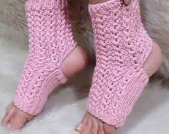 Pink yoga socks, toeless socks, Organic cotton, ddlg, girlfriend gift, valentines gift, yoga, plates, fingerless socks, toeless socks