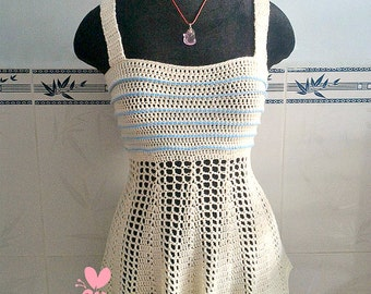 Crocheted Peplum tank top - free worldwide shipping