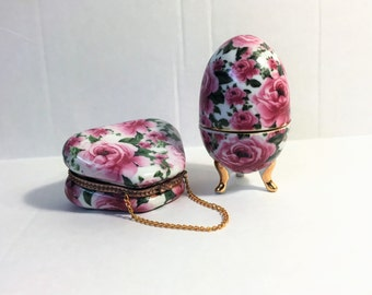 Dynamic Ceramic Rose Jewelry Box Duo