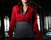 Full RED Pokemon GO Trainer Cosplay Costume Hoodie Cropped Jacket