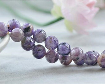 Grade A Natural Charoite Beads 6mm-12mm NOT Dyed Smooth Polished Round 15 Inch Strand CH01