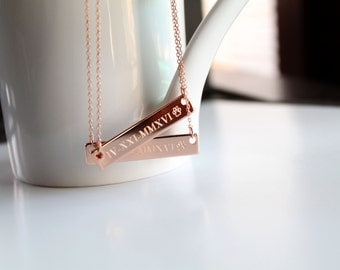 Bar Necklace, Custom Engravable, Greek Letters, Roman Numerals, Coordinates, Name, Big/Little Sorority Jewelry, Bridesmaid Gift