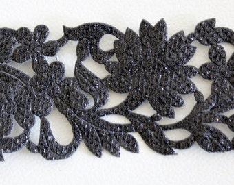 Black Shimmer Cut Work Trim, Approx. 45mm wide - 140316L12