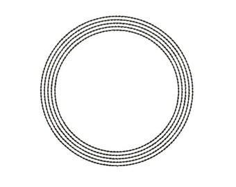 Machine Embroidery Design Instant Download - Circle Music Staff Quilting Redwork monogram frame