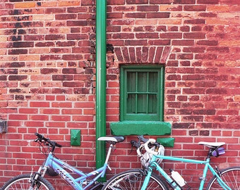 Bicycles Under Green Window - Wall Decor - Fine Art Photography Print - Red, Brick, Rustic, Historic, Distillery District