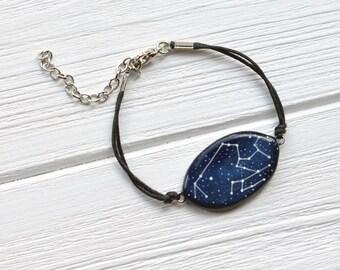Sagittarius bracelet November zodiac December birthday Constellation Sagittarius horoscope Galaxy Cosmic jewelry Zodiac gift Astrology Blue