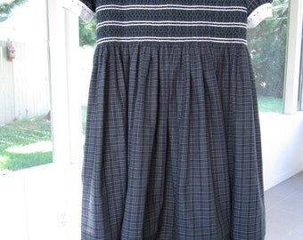 School plaid smocked yoke dress