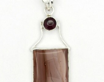 Captivating! New Brown Imperial Jasper,Amethyst 925 Sterling Silver Pendant A0496