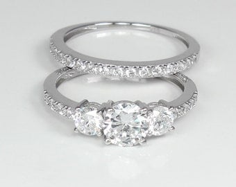 Engagement Ring Set Sterling Silver / 925 SOLID Sterling Silver