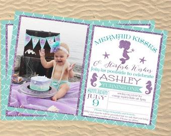 Mermaid Invitation, little girl birthday, Under the sea, custom birthday invitations,printable,  physical or digital file