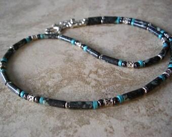 Rainforest Jade, Howlite Turquoise,Hematite, Silver Accents Men's Necklace, Men's Jewelry