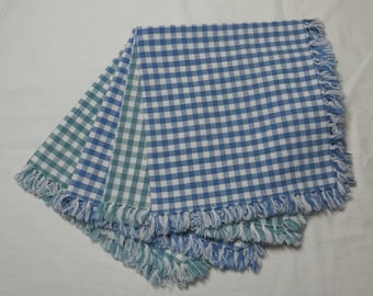 4 Vintage 1960s Blue & White and Teal and White Gingham Woven Cotton Dinner Napkins with Fringe, 16 In. Vintage Table Linens, Country Look