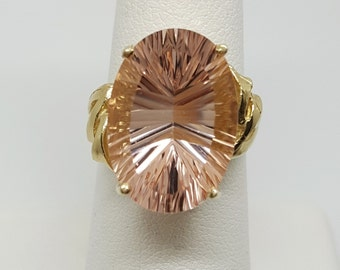 12.15ctw Specialty Cut Morganite 10kt Yellow Gold Ring Size 6.75