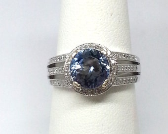 2.01ct Tanzanite and .17ctw Diamonds 14kt White Gold Ring Size 6.25