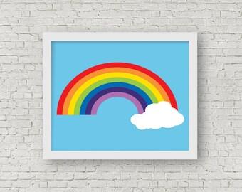 Rainbow Print, Modern Home Decor, Rainbow Wall Art, Summertime, Colourful, Children's Room Decor, Nursery Decor, 8 x 10 Art Print