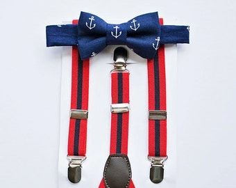 Boys Navy Anchor Bow Tie Red Navy Striped Suspenders ..Ring Bearer Outfit..1st Birthday Boy..Cake Smash Outfit..Suspenders..Boy Christmas