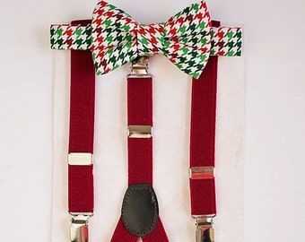 Boy Bow Tie Suspenders., Toddler Bow Tie, Baby Boy Red Bow Tie, Boy Christmas Outfit, First Birthday Boy, Boys Gift, Baby Boy Clothes, Gift