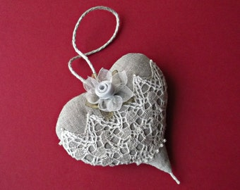 Grey Linen heart Hanging decor fabric Christmas tree ornaments Stuffed fabric heart lace silk flowers