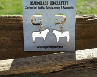 Silver Cow Earrings, Show Steer Earrings, Livestock Earrings, Silver Jewelry, Cattle Jewelry, Farm Animal Earrings, FFA Jewelry, Stock Show