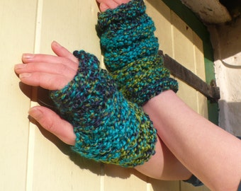 Handmade Knitted Fingerless Gloves In Blues Boho Hippie Mittens, Caterpillar Hugs for Hands, It Rains, And Rains, And Rains.