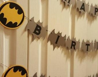 Batman birthday - batman banner - batman custom - batman party - batman decorations - batman garland - batman baby shower - batman favors