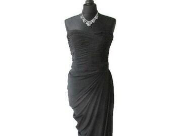 sale! PIERRE BALMAIN silk dress, 80s dress vintage wiggle black dress strapless evening boned bodice wiggle