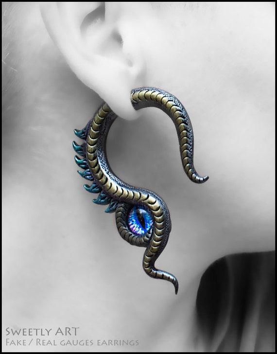 Dragon fake gauges Gauge plug earrings Dragon eye earrings