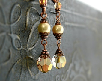 Swarovski Sunshine Yellow Crystal Earrings - Long Dangle Summer Earrings Victorian Style Antique Copper - Yellow Gold Pearl Beaded Earrings