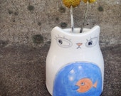 Cat Bud Vase Fish in Tummy