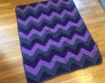 Purple and Gray Chevron Baby Blanket - Baby Girl Blanket - Baby Gift - Ready to Ship
