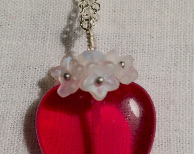 Ruby red heart, Red heart necklace, Valentines jewelry, hearts and flowers, Valentines jewels