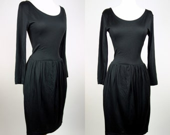 1990s black Esprit dress, cotton rayon long sleeve, scoop neck casual dress, Small