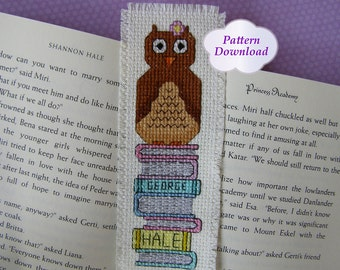 Spring Owl Sitting on Books Cross-Stitch Bookmark Pattern with 3 Cross-Stitch Alphabets - PDF Download