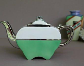 Antique Apple Shaped Fraunfelter Art Deco Teapot - Art Deco Green and White Tea Pot - Fraunfelter China Co. Zanesville Ohio Pottery