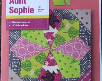 Patchwork Template Set - Aunt Sophie Hexagon from Victorian Textiles 12 inch block finished- online quilting Australia, hexagon series