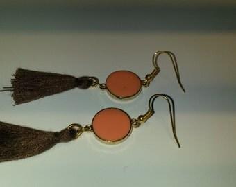 Dangling long earrings, tassel earrings, brown earrings salmon earrings