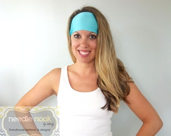 The Aqua Yoga Headband - Spandex Headband - Boho Wide Headband