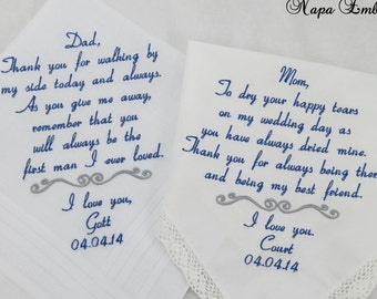Hankerchiefs Father of the Bride Mother of the Bride Wedding Gifts Mom Dad Wedding Embroidered Handkerchiefs Personalized Napa Embroidery