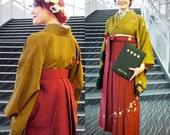 Women's hakama wine red with cherry blossom, red hakama bordeaux kimono, flower kimono, authentic kimono skirt, polyester washable hakama