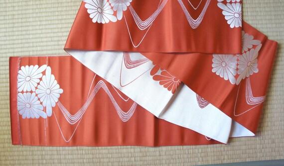 Orange silver reversible Japanese obi belt , metallic obi, Silver fukuro obi, vintage orange kimono obi, floral hakata obi thin crysanthemum