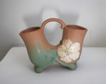 Vintage Weller Pottery Double Vase, Wild Rose, Label