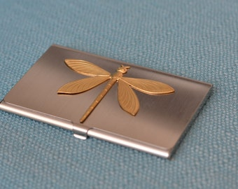 silver tone business card case with brass dragonfly