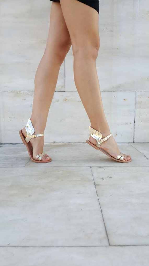 Ermes winged Metallic handmade leather sandal, Gold / Rose Gold / Silver, Greek Sandals made locally