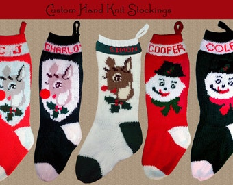 YOUR NAME on a Hand Knit Christmas Stocking