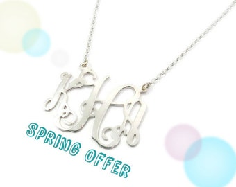 "Monogram Necklace. 1.25"" Initial Personalized necklace. Sterling silver monogram. Initial jewelry. Silver initial monogram. Monogram jewelry"