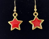 Unique boho, red star charm earrings, dangle and drop style, antique gold, nickel and lead free jewelry, hypo allergenic, one of a kind