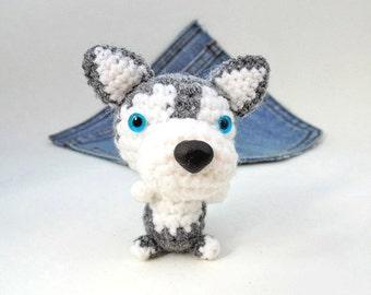 Amigurumi Siberian Husky, crochet Siberian Husky, Puppy Dog toy. Cute Siberian Husky plushie. Stocking stuffer.